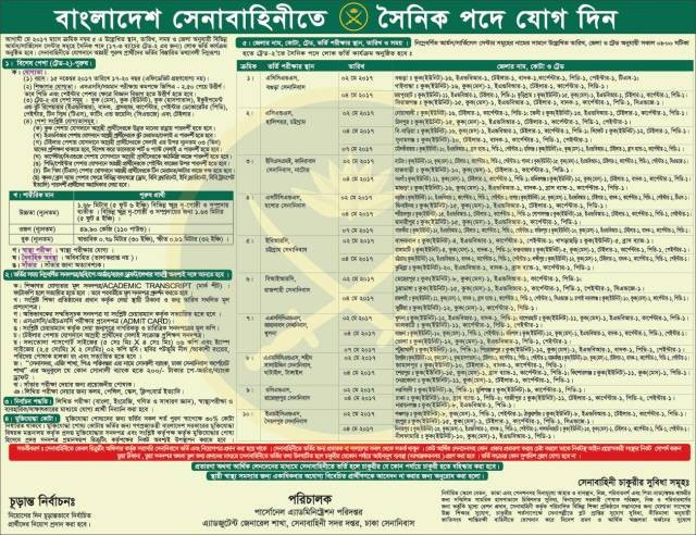 Bangladesh Army Sainik Job Circular 2017