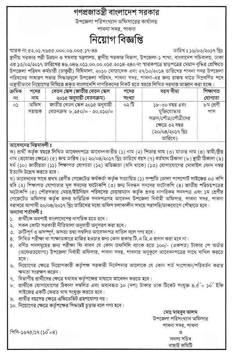 Bangladesh Statistics Job Circular April 2017
