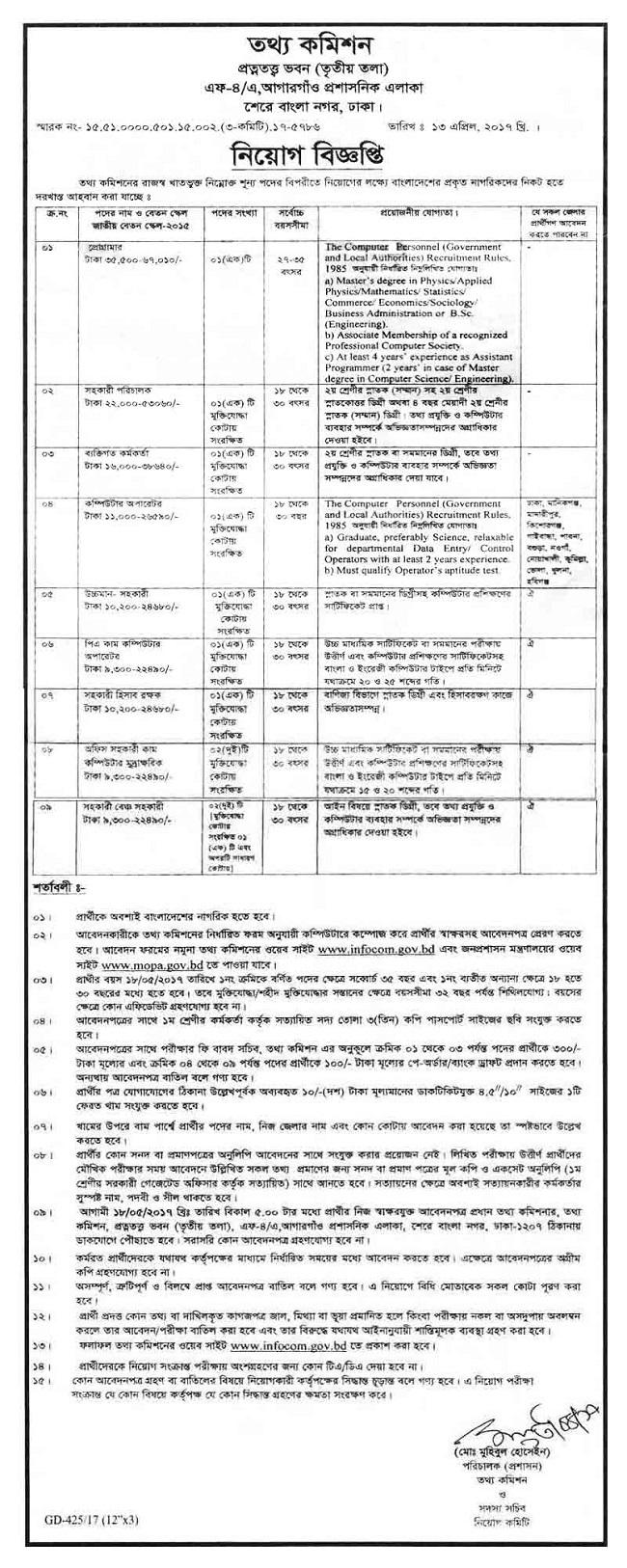 Information Commission Job Circular